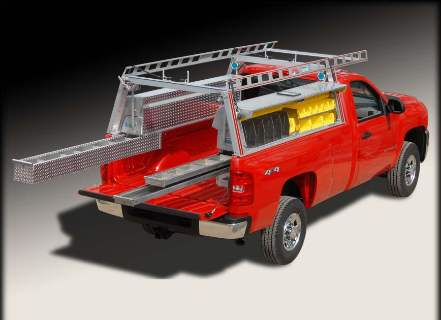 Truck Pipe Rack >> Pick Up Truck Ladder Rack W Truck Tool Boxes And Drawers System