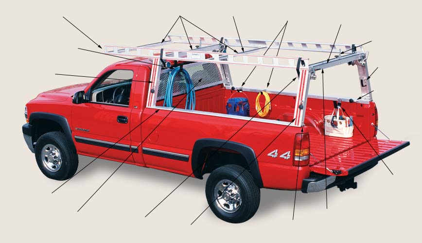 Red Chevy W Heavy Work Contractor Ladder Rack Package